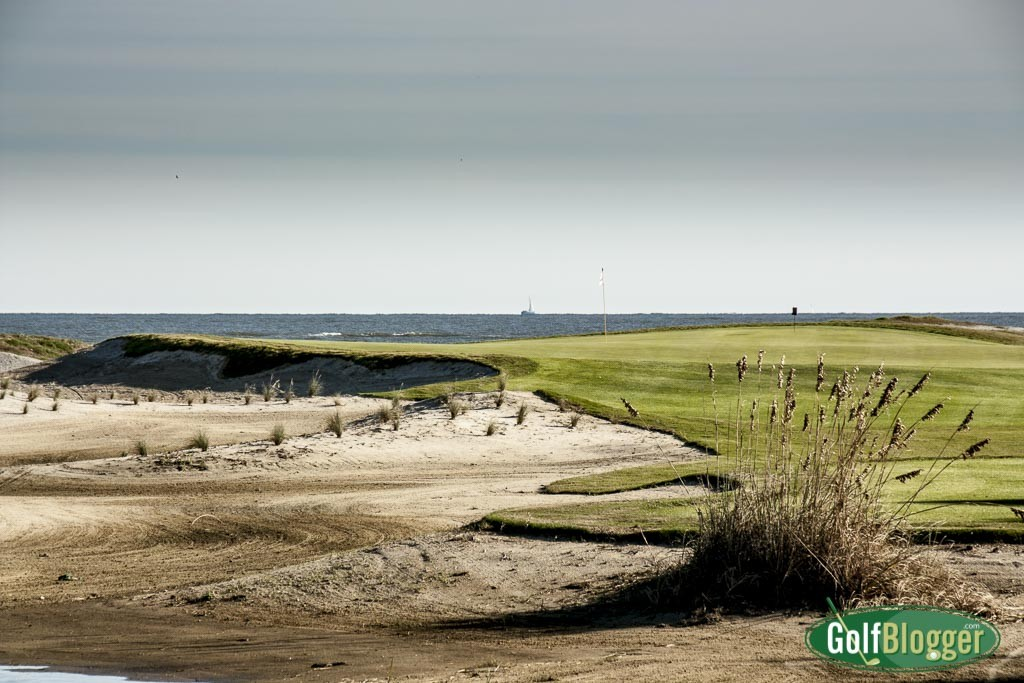 The eighteenth at the Links Course at Wild Dunes Resort is a 175 yard par 3.